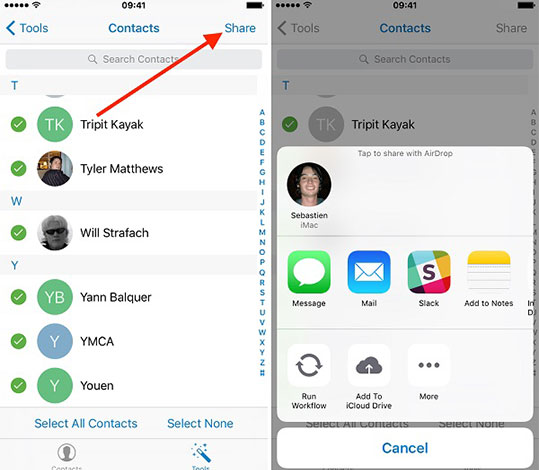 Transfer contacts from iPhone to Android with email and text