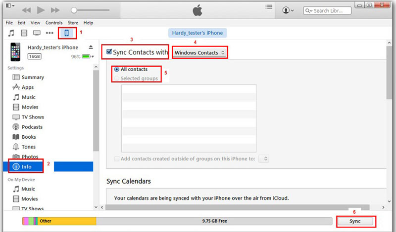 Transfer contacts from iPhone to Android with iTunes